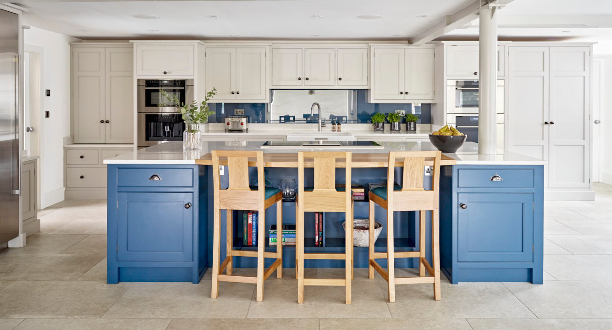 3 Contemporary blue and white kitchen